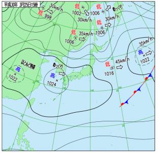 3月25日(日)15時の実況天気図
