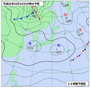 3月26日(月)9時の予想天気図