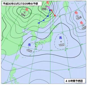 3月27日(火)9時の予想天気図