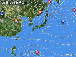 3月28日(水)9時の予想天気図