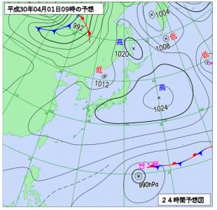 4月1日(日)9時の予想天気図
