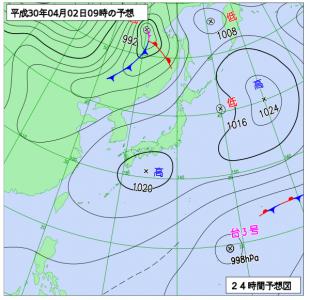 4月2日(月)9時の予想天気図