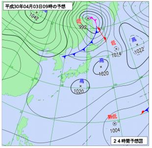 4月3日(火)9時の予想天気図