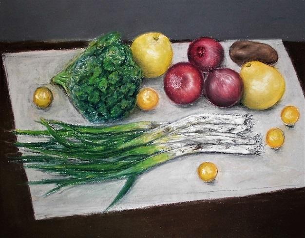 18..3.18 絵・ただ置いただけの野菜と果物・パステル (10)