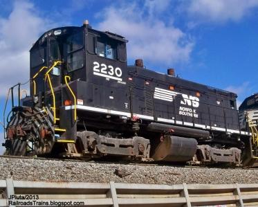 NS 2230 SW1500 EMD Locomotive Train Engine Norfolk Southern Railroad Brosnan Rail Yard Macon Georgia NS Freight Local Switcher
