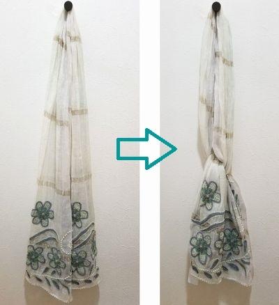 刺繍ストールと崩れにくい巻き方9