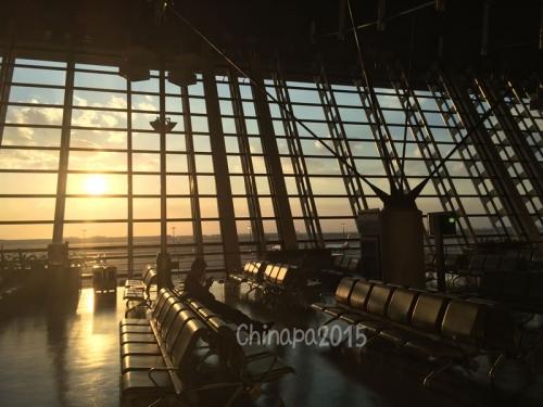夕焼けの浦東空港