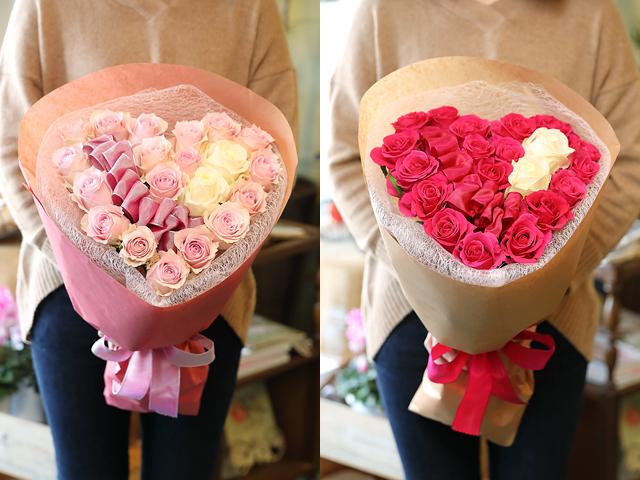 バレンタイン ハート バラ 花束 サプライズ フラバレ かわいい