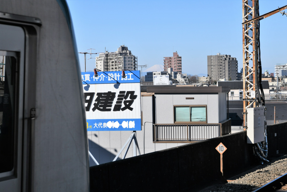 ホームから富士を望む