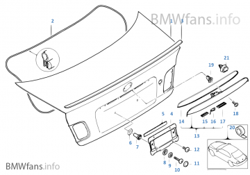 E46 318ci Single components for trunk lid
