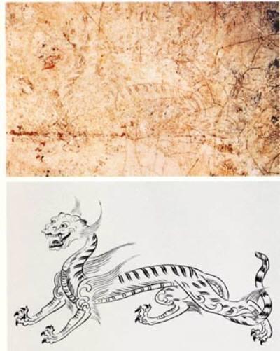 高松塚古墳壁画の白虎とその復元図
