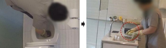 便器を磨いたスポンジでコップ洗い、韓国一流ホテルの衝撃的な客室清掃▲4日放送された総合編成チャンネル「TV朝鮮」の時事番組『CSI:消費者探査隊』で、ソウル市内の5つ星ホテルの清掃スタッフが便器の水に浸したス