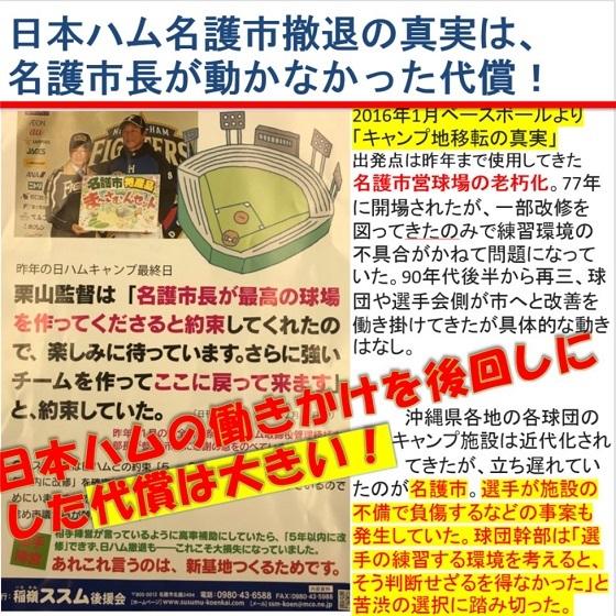稲嶺ススム市長は、日本ハムの栗山監督との写真を掲載してイメージま操作のビラをばら撒いて友好関係みせてますが、「キャンプ地移転の真実」を知ってください!