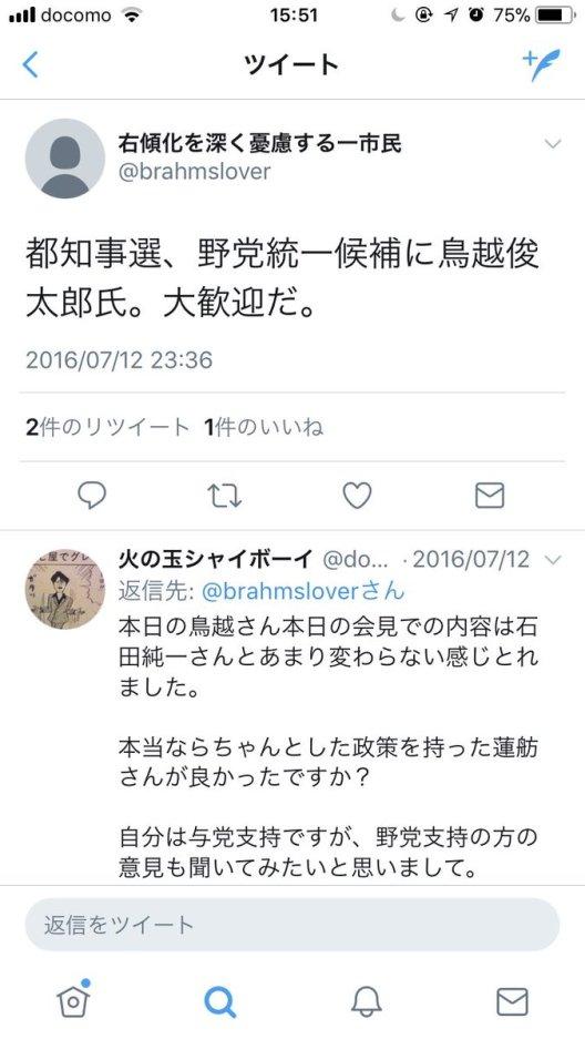 (4)鳥越俊太郎を応援していた。