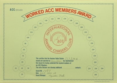 WORKED ACC MEMBERS AWARD