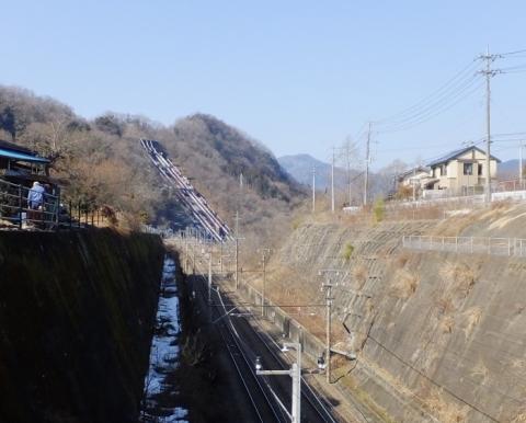 中央本線と八ツ沢発電所水圧鉄管