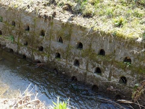 穴川右岸のブロック積護岸