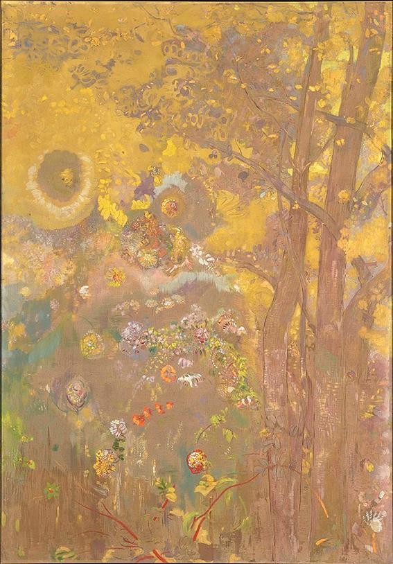 ルドン 黄色い背景の樹 1901年 20cm M08