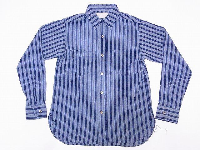 シュガーケーン インディゴ ストライプ 長袖 ワークシャツ SC27845