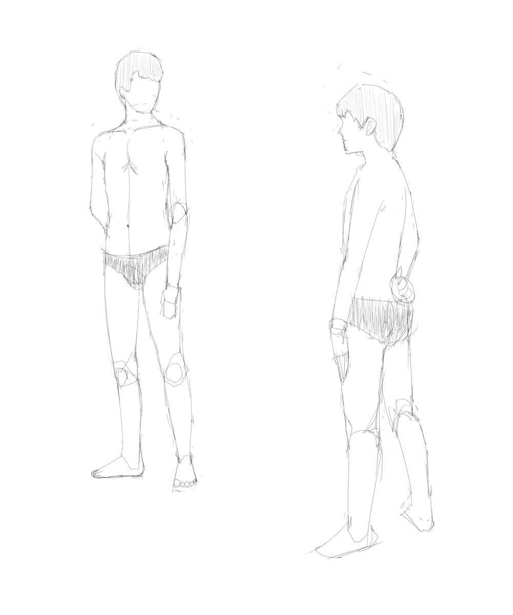 成人男性のポーズ集を見つつ年齢を下げた男子の体を描く その1