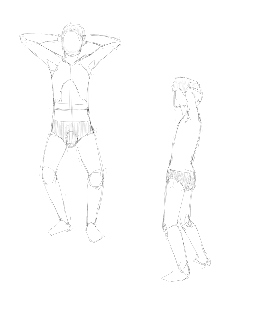 成人男性のポーズ集を見つつ年齢を下げた男子の体を描く その2
