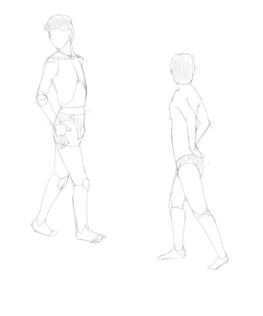 成人男性のポーズ集を見つつ年齢を下げた男子の体を描く その3