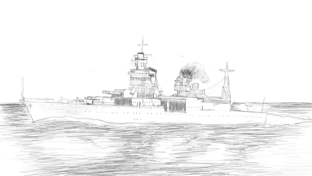重巡洋艦インディアナポリス 戦場写真のスケッチ
