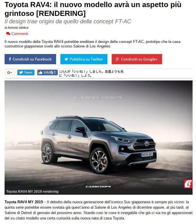 Toyota RAV4 il nuovo modello avrà un aspetto più grintoso RENDERING