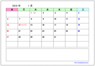 2019年(平成31年)カレンダーのテンプレート・フォーマット・雛形