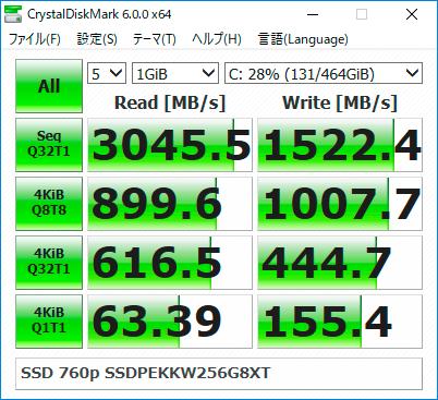 【CrystalDiskMark 6.0.0】SSD 760p SSDPEKKW256G8XT
