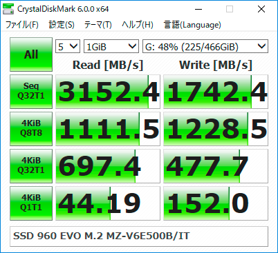 【CrystalDiskMark 6.0.0】SSD 960 EVO M.2 MZ-V6E500B/IT