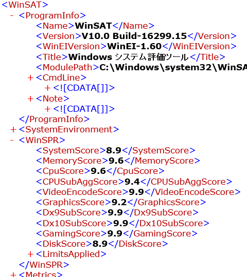Windowsシステム評価ツール(WinSAT) V10.0 Build-16299.15