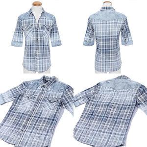 ダメージ加工 チェックシャツ 清潔感 春服