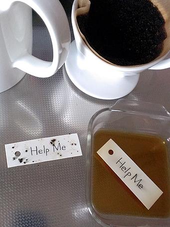 濃い目のコーヒー液に紙タグを浸けて、古っぽくしているところ。