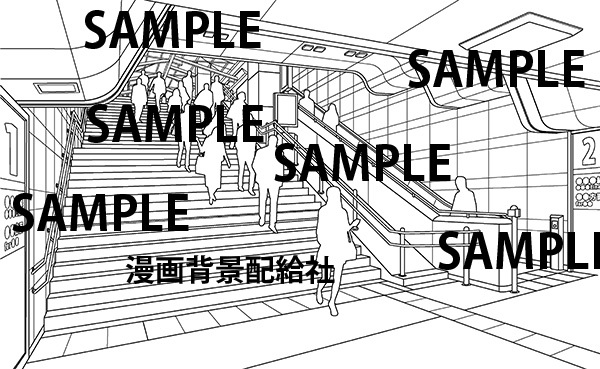 漫画背景素材 駅の階段イラスト