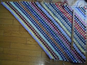 残り毛糸で斜め編み180308