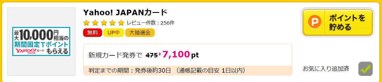 ハピタス yahoo japanカード