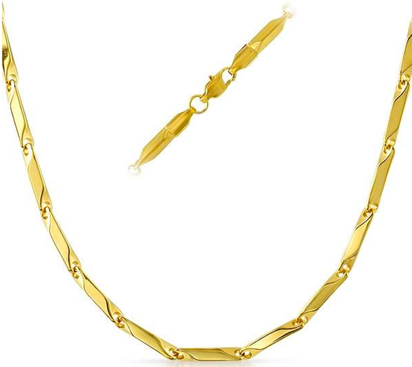 14K Gold Solid Bullet Chain