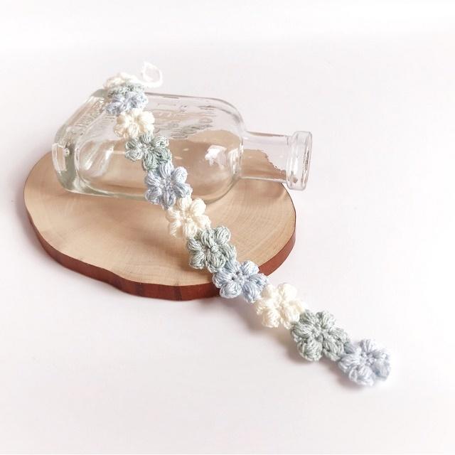 手編み雑貨 HanahanD レースブレスレット モチーフ繋ぎ 花 パステル