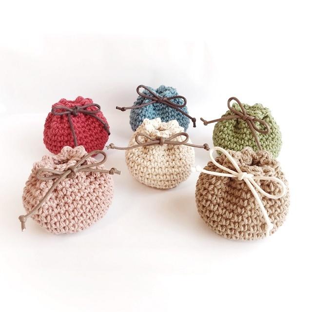 手編み雑貨 はなはんど 巾着袋 手編み巾着