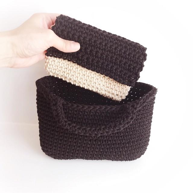 手編み雑貨 はなはんど コットンバッグ ハンドバッグ お散歩バッグ マルシェバッグ