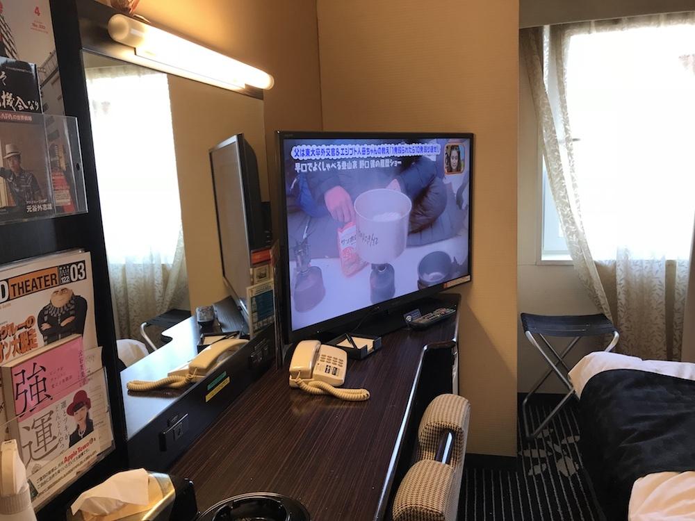 部屋は狭いがテレビはでかい