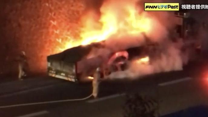 東広島インター トラック炎上
