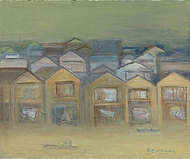 舟屋の夕方風景