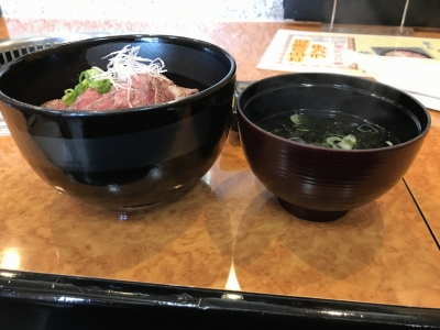 ステーキ丼(横から)