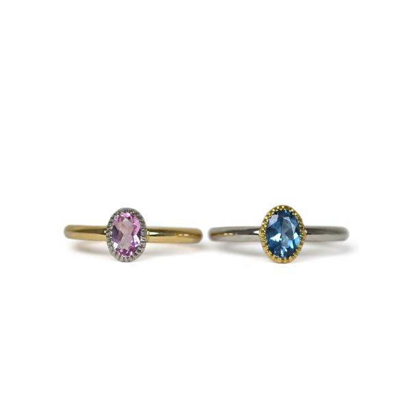 K18YGPt900イエローゴールドプラチナアクアマリンモルガナイトリング指輪