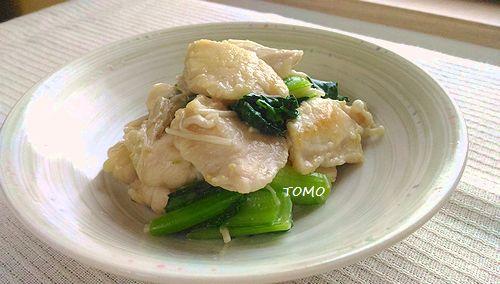 鶏胸肉と小松菜のえのき茸炒め
