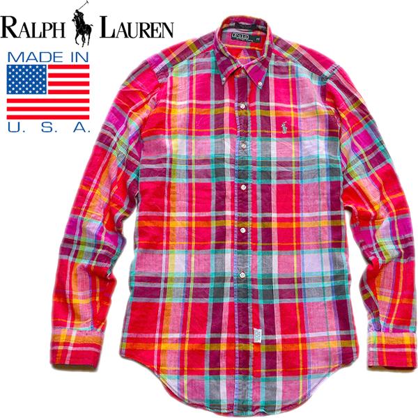 POLOポロラルフローレンRalph Lauren長袖チェックシャツ画像メンズレディースコーデ@古着屋カチカチ01