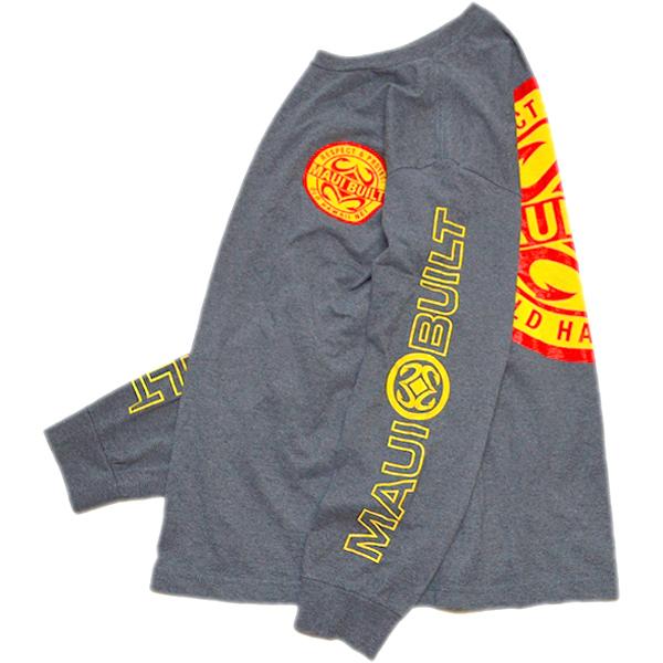 袖プリント長袖ロンTシャツ画像メンズレディーススタイルコーデ袖ロゴ@古着屋カチカチ01