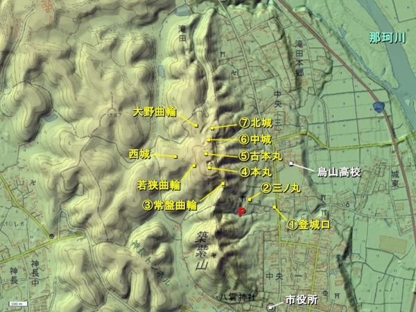 烏山城地形図